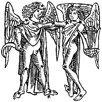 Gemini, illustration from a 1482 edition of a book by Hyginus.
